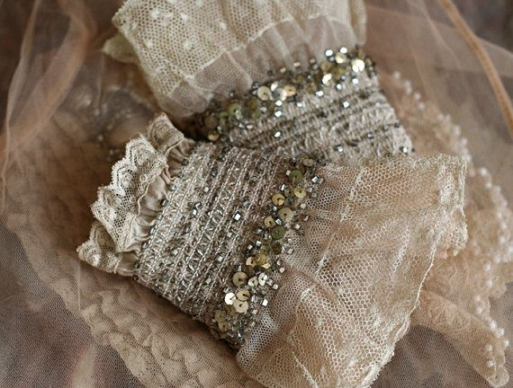 Silvestra wrist wraps with antique lace and by FleursBoheme