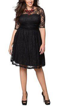 Dilanni Women Plus size Lace Dresses Mother of Bride Dresses Black(L-5XL)