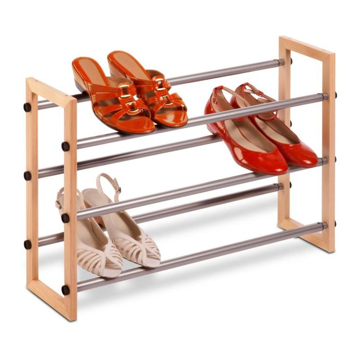 Honey-Can-Do SHO-01372 3-Tier Expandable Stackable Shoe Rack Wood and Steel Closet Organizers Shoe Racks NULL