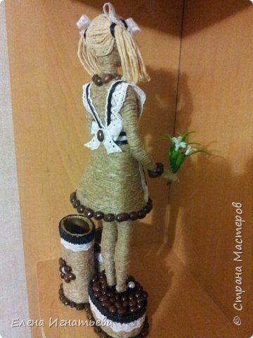 Куклы Поделка изделие День учителя Моделирование конструирование Карандашница - подарок на день учителя  Кофе Кружево Шпагат фото 3