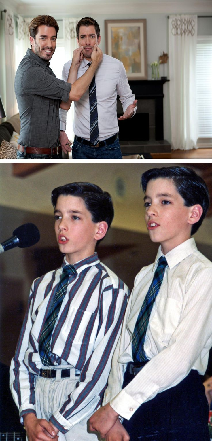 Jonathan and Drew Scott, The Property Brothers, on HGTV and earlier as choir boys.