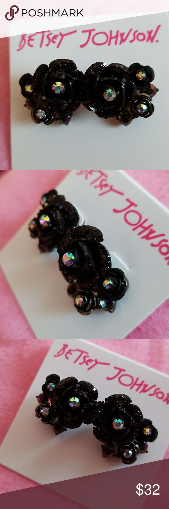Betsey Johnson black rose earrings These are glittery black..size of a penny price firm Betsey Johnson Jewelry Earrings