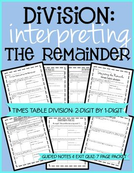 Times tables, Remainders and Division on Pinterest