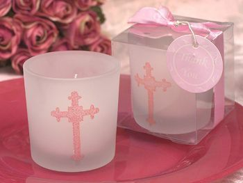 Blessed Events Cross design candle holder - The prefect favor for your Childs Blessed Event. These frosted glass votive candle holders are accented with a stylish cross design in pink glitter and come with a white votive candle. http://www.favorfavorbaby.com/p-DC1016.htm