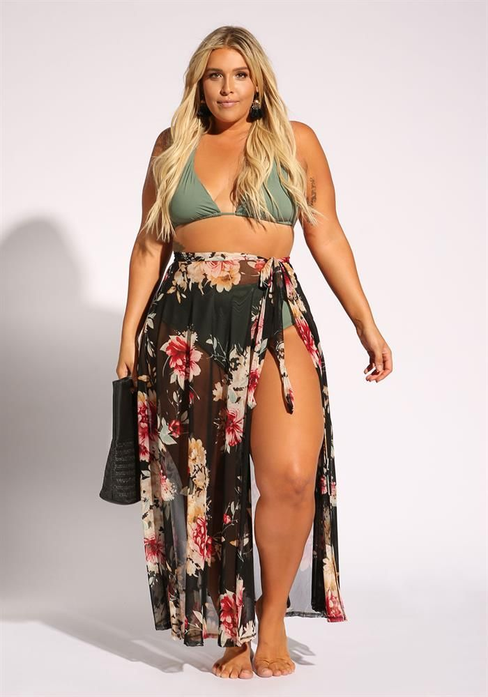 Plus Size Clothing | Plus Size Rose Cover Up Mesh Maxi Skirt | Debshops | Moda Praia Retrô in 2019 | Pinterest | Plus size, Plus size outfits and Clothes