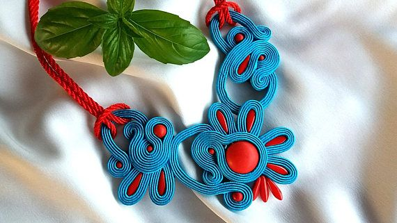 Necklace made in soutache tehnique.