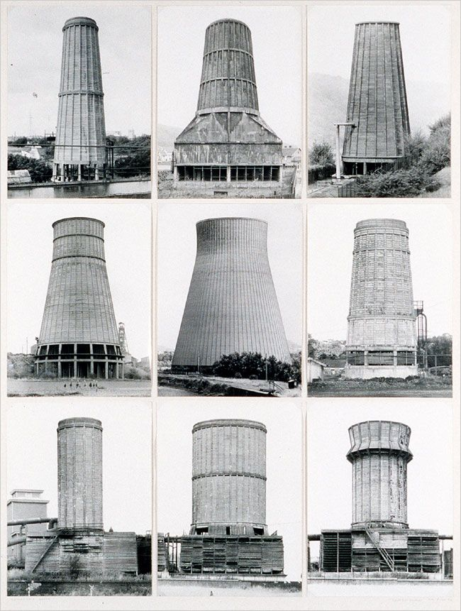 Bernd and Hilla Becher's 1972 study of of concrete cooling towers.
