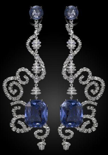 Carnet Spellbound earrings - diamonds and sapphires. Via Carnet.
