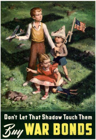 Don't Let That Shadow Touch Them Anit-Nazi Buy War Bonds WWII Propaganda Art…