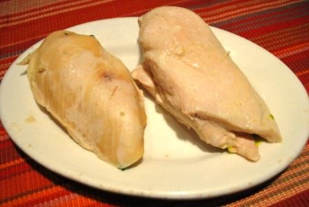 Poached Chicken to keep the flavor - WAY better idea - wish I would have read this BEFORE I just boiled the chicken!