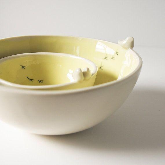 moderne Servierschalen. Porzellan Vogel Schüssel. weiße von karoArt