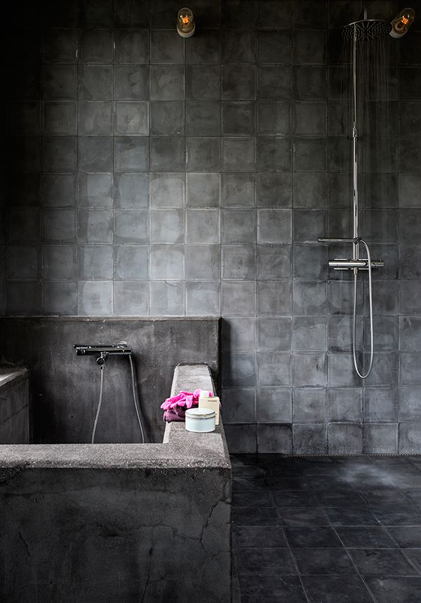 17 best ideas about cement tiles bathroom on pinterest bathroom bathroom floor tiles and - Badkamer donker ...