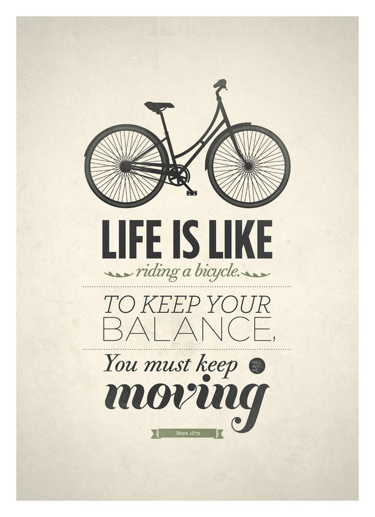 Life Quote typography poster - Life is like riding a bicycle - Retro-style quote art print A3
