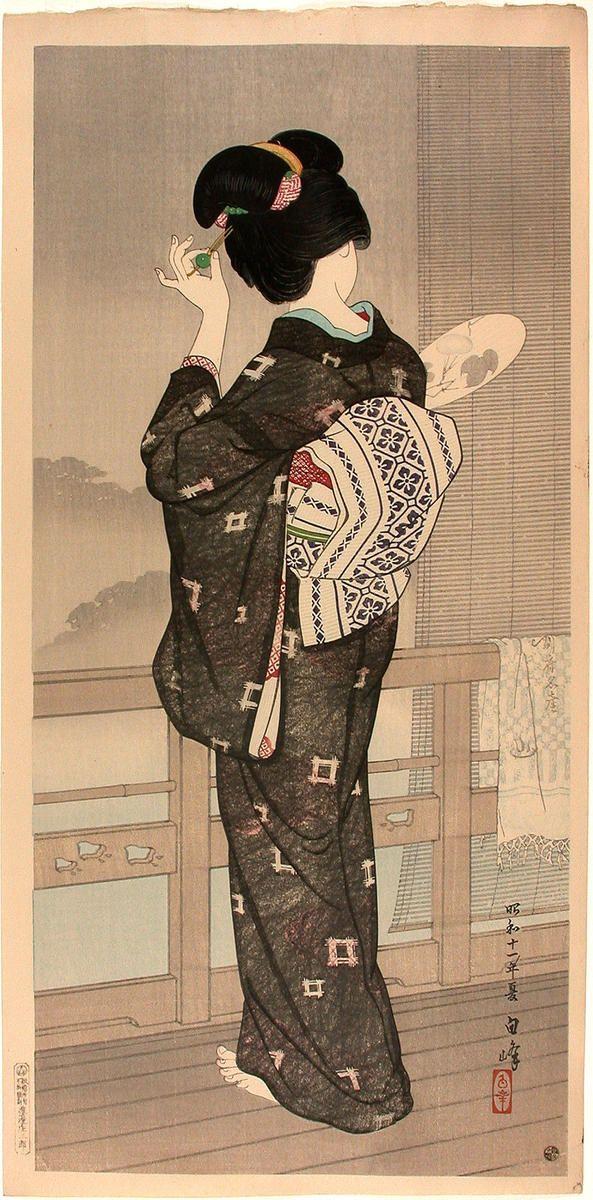 Summer Rain, Beppu Hotspring — Natsusugata  by Hakuho Hirano (1879-1957)