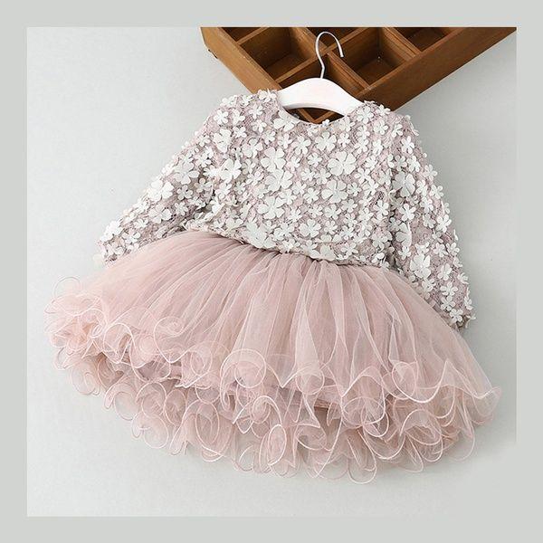 Toddler Baby Girls Floral Tutu Dress Ruffles Long Sleeve Dress