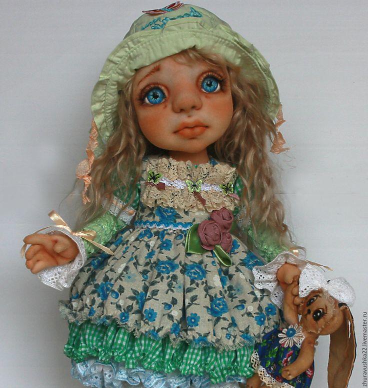 Купить Кукла интерьерная текстильная. - голубой, зеленый, кукла интерьерная, кукла текстильная
