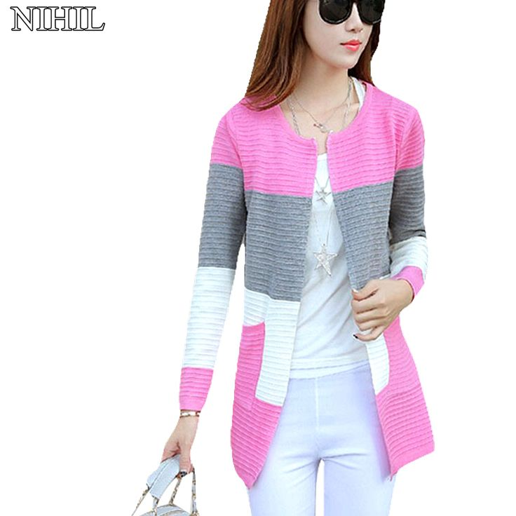 New Fashion Women Patchwork Cardigan 2016 Spring Long Sleeve Pink O-Neck Slim Knitted Sweater Coat Korean Women Pull Outwear Top