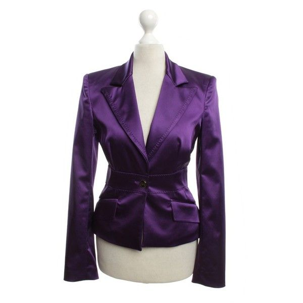 Pre-owned Violet color blazer (£88) ❤ liked on Polyvore featuring outerwear, jackets, blazers, violet, fleece-lined jackets, shoulder pad jacket, shoulder pad blazer, d&g blazer and one-button blazer