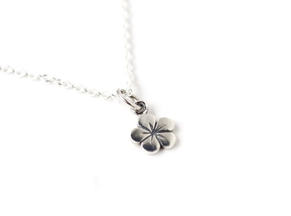 Little Petite Flower Sterling Silver Pendant Necklace by SoClaudia