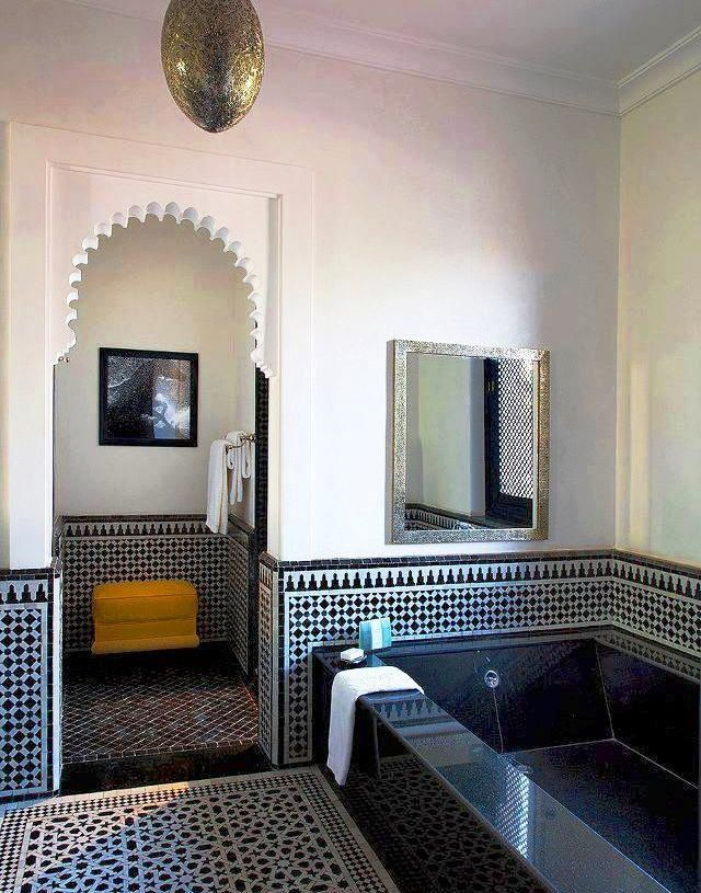 Eastern Luxury: 48 Inspiring Moroccan Bathroom Design Ideas | DigsDigsI really think I could cut a piece of foam board and paint it and insert it into the top of a doorframe to create this arched doorway