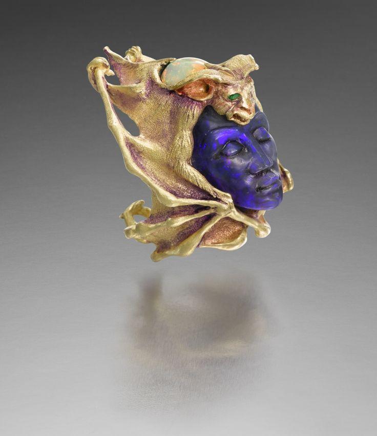KEVIN COATES XII NOCTURNE 18K gold with patination, carved Australian water opal (slate back), Ethiopian opal, tsavorite garnets
