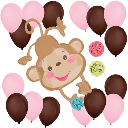 It 39 s a girl monkey balloon kit for baby showers or birthdays babyshowerballoons bigdot - Monkey balloons for baby shower ...