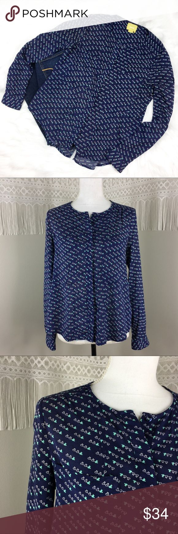 Anthropologie Maeve Clara Tony Bird Blouse Anthropologie's brand Maeve Clara tiny bird blouse. Size 2. Approximate measurements are 24' front length, 23' sleeve, and 18' bust. GUC with no major flaws. ❌No trades ❌ Modeling ❌No PayPal or off Posh transactions ❤️ I 💕Bundles ❤️Reasonable Offers PLEASE ❤️ Anthropologie Tops Blouses