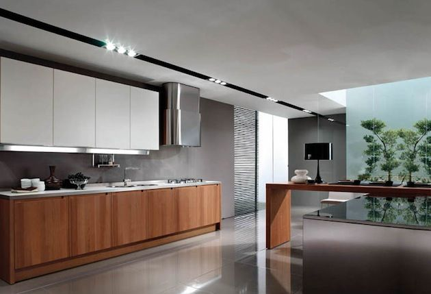 Modern kitchen design inspiration with wooden white and for Grey and brown kitchen