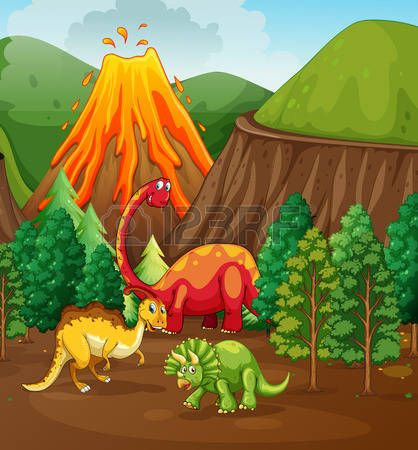 Dinosaur living in the forest illustration Vector