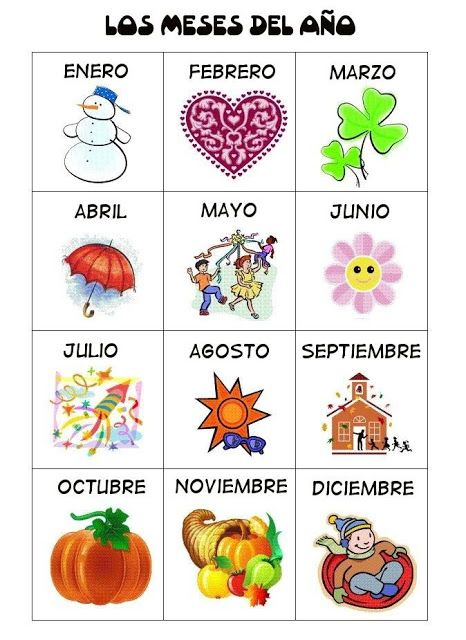 Meses enEspañol #Spanish #online for children and teenagers, guided by Spanish native teachers in Spain. www.spanish-school-herradura.com