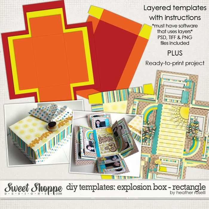DIY Printable Templates: Explosion Box - Rectangle by Heather Roselli