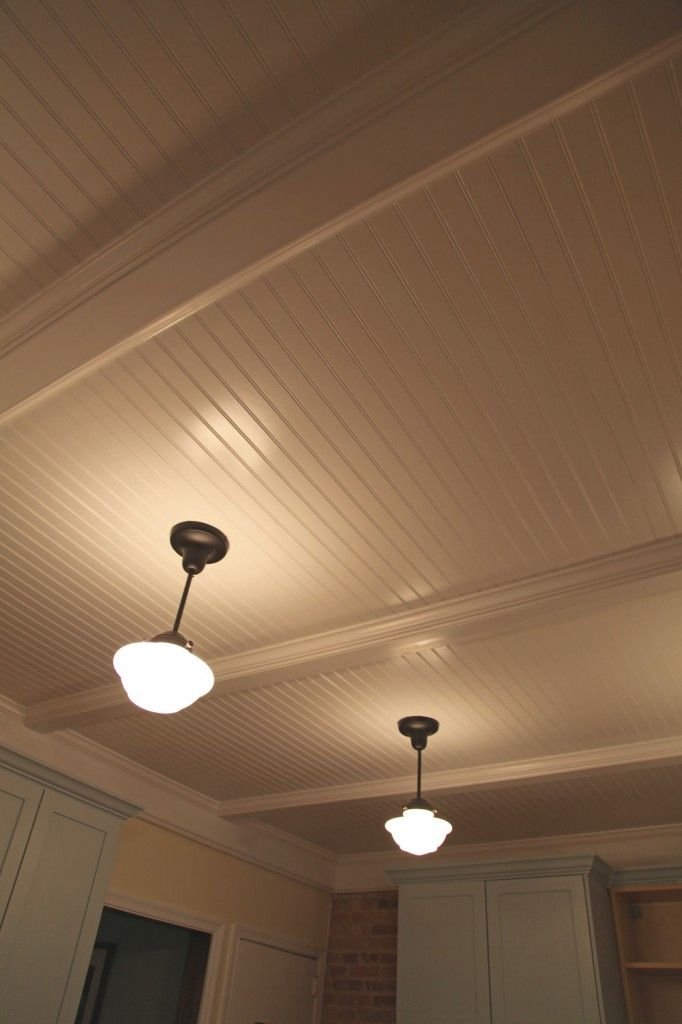 Finished Beadboard Paneled Ceiling W Bronze Finished