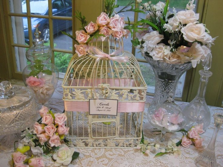 beautiful antique white bird cage large wedding card holder shabby chic decorative bird cage. Black Bedroom Furniture Sets. Home Design Ideas