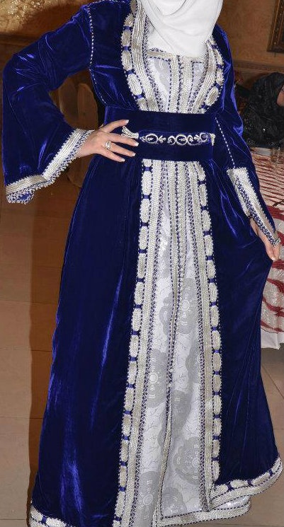 Blue-White #Hijab Evening Dress.