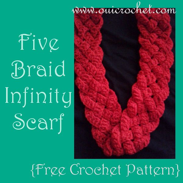 Five Braid Infinity Scarf {Free Crochet Pattern} www.ouicrochet.com