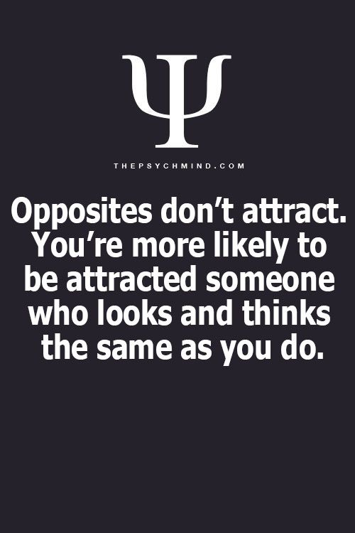 "No. This is false. Opposites, as proven by the Myers-Briggs Personality test, do attract. You need someone who shares your core beliefs and what is important to you, but you need someone who has a different personality type. That's why, for example, INTJ-ENFP is considered the ""ideal match."""