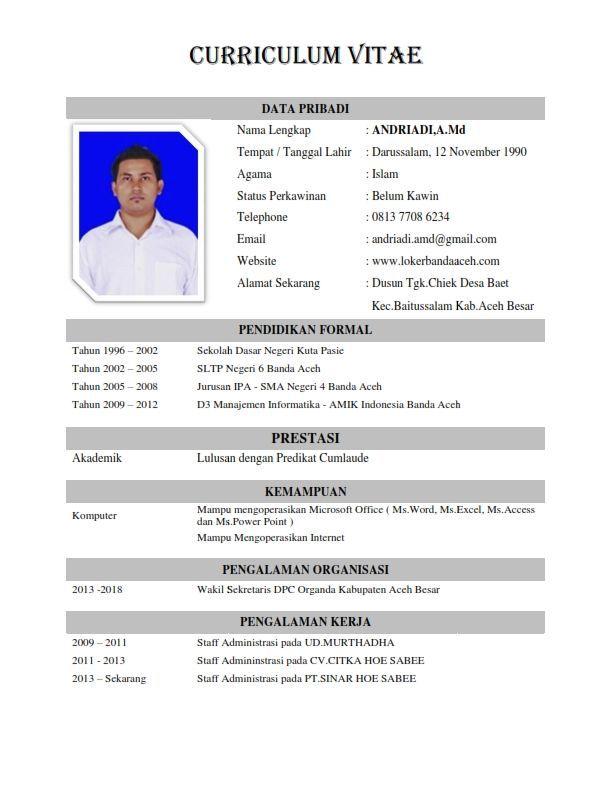 Format Resume Yang Baik Resume Resume Format Resume Templates
