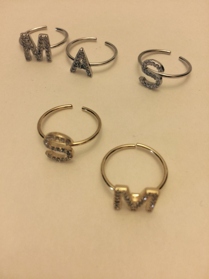 Sterling Initial Rings Silver & Gold by Suhailurdaneta on Etsy