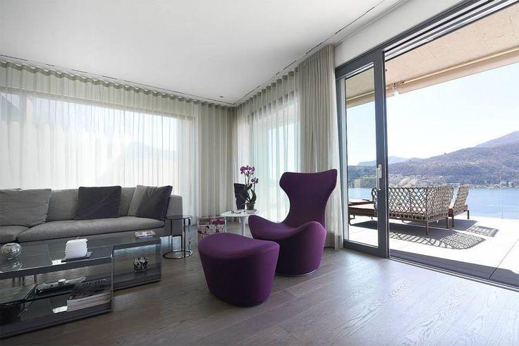 arredamento completo con cucina, soggiorno, armadi e terrazzo per una splendida villa a Morcote. ( Varenna Poliform B&B Italia )