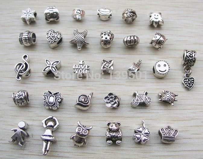 Free Shipping 31pcs mix style antique silver plated alloy big hole charms beads fit pandora bracelet DIY-in Beads from Jewelry on Aliexpress.com | Alibaba Group