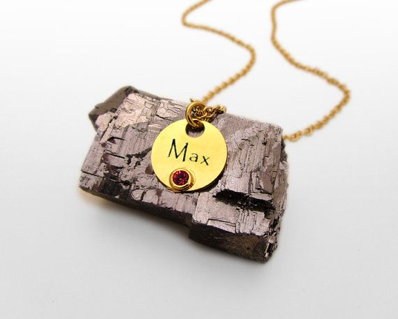 Name Birthstone Necklace, Personalized Mommy Necklace, Gold Name Necklace, Round Charm Nameplate Necklace. on Etsy, 131.20₪