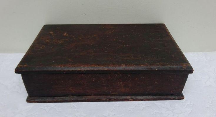Antique Wooden Box Letters Stationary Restoration Crafts Keepsake Photo's