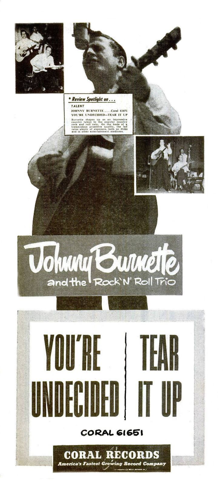 Johnny Burnette trio Ad for their first Coral Record - I was friends with Paul Burlison and spoke with Dorsey several times by telephone.