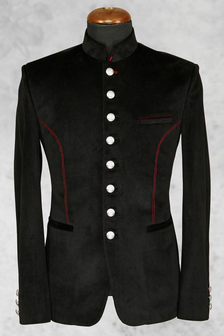 Black majestic italian suit with bandhgala collar-ST505 - Jodhpuri Suits - Men's Suits - Men's Wear