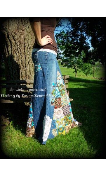 Скромная Одежда - Лоскутное Custom Длинные Джинсовые Юбки