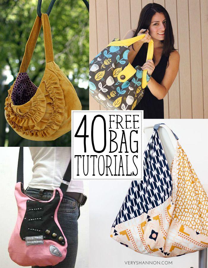 40 amazing bag tutorials/Incríbles tutoriales para coser bolsos y carteras