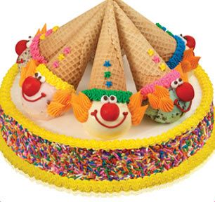 Are you KIDDING me?!?! If you know me, you know I consider Clown Cones a major food group (with extra frozen icing)!!!! Heaven!! Baskin-Robbins | Clown Cone Party Round Cake (With Sprinkles)