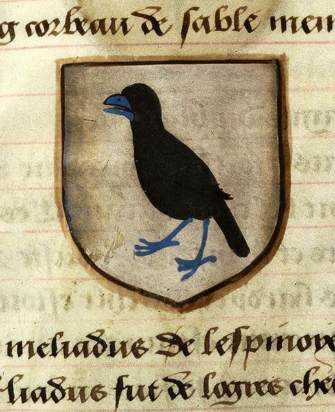 Medieval Manuscript Images, Pierpont Morgan Library, Noms, armes et blasons des chevaliers de la Table Ronde. MS M.16 fol. 53v Lot le Preux (argent, a raven sable, beaked and membered azure).