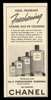 1939 Chanel No 5 Cuirde Russie Eau de Cologne Unusual Vintage Print Ad