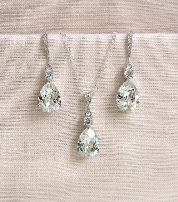 Crystal Pendant Necklace SET Earrings Bridal by CrystalAvenues